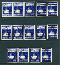 14 Vintage 1937 POSTER STAMPS (LOT #L418) Coast Guard Water Fete Grand Haven MI