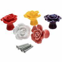 Art Stylist Design Rose Ceramic Door Knob Drawer Closet Cabinet Pull Handle Kit