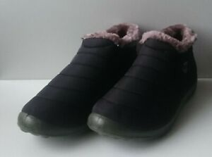 Men's Fleece Lined Quilted Foam Fabric Gusset Ankle Slippers - Size UK 7 / EU 41