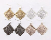 Classic Metallic Filigree Drop Earrings for Women Hollow Out Statement Jewelry