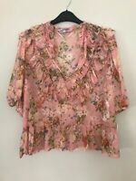 BNWT ZARA PINK FLORAL PRINTED BLOUSE WITH RUFFLES SIZE L