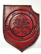 LEVIATHAN CROSS  ANTIQUE RED COLOR GENUINE LEATHER  PATCH