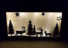 LED Weihnachtsdeko Hirschfamilie 35cm - Holz Wanddeko beleuchtet Hologramm Folie