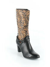 Women L'Artiste BOHO Black Brown Embossed Flower Boot Heel Shoe Size 38