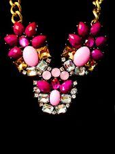 "NEW Purple Crystal Bubble Bib Pendant Statement Necklace 21"" Adjustable Dress US"