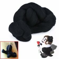 50g Black Dyed Wool Tops Roving Felt Wool Fibre For Needle Felting Spinning DIY
