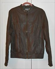 MEN'S RUDOLF DASSLER BY PUMA BROWN ZIP-UP LEATHER JACKET - SIZE MEDIUM