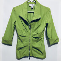 Joseph Ribkoff Womens Size 8 Lime Green Zip Up Cuffed Jacket Stretch Pleated