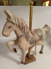 """Vintage Paper Mache Carousel Horse H 25.5"""" inch W/Wood Base Signed Kiraven Rare!"""