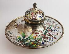 Fine FRANCO-JAPANESE ENAMEL Decorated BRONZE INKWELL c1870