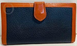 *Vintage*DOONEY & BOURKE*W41*Envelope Clutch Wallet*Navy & British Tan 16047C
