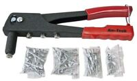 Riveter Gun With 60 Rivets & Nozzles or 100pc, 1000pc Assorted Rivets-Amtech