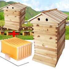 Beekeeping Hive 7pcs Frames With Wooden Box Auto Honey Harvesting House Tools