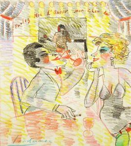 "Earl Linderman ""Parlez Moi d'Amour"" Original Artwork Drawing Painting on Paper"