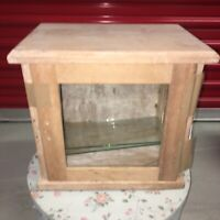 Antique Wood & Glass Cabinet Decor Tabletop Display Cabinet Stripped