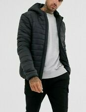 Brave Soul Men's Black Hooded Puffer Jacket Size M Medium New Without Tags