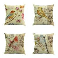 Vintage Bird Cotton Linen Pillow Case Sofa Throw Cushion Cover Home Decor 18""