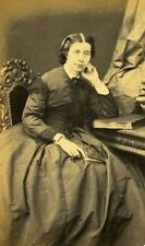 Woman Seated Paris Early Studio Photo Pierre Petit Old CDV 1860