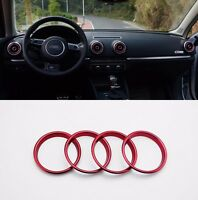 Fangfang Fit For Audi A3 8V 2013-2019 Carbon Fiber Color Interior Air Vents Circles Center Console Air Conditioner Outlet Frame Cover Trim Color Name : Red