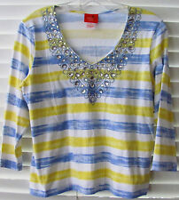 HEARTS OF PALM-PETITE Medium-Striped Pullover Blouse-Embellished collar