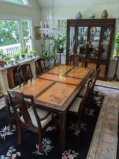 Inlaid & Carved Chinese Rosewood Dining Set: Table w/6 Chairs & China Cabinet