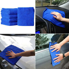 5Pcs Blue Soft Absorbent Wash Cloth Car Auto Care Microfiber Cleaning Towels CY