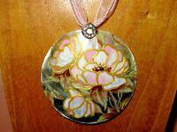 Shell Pendant PEONIES FLOWERS Genuine Russian ART hand painted Pinky White Peony