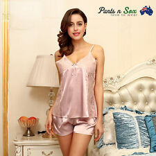 Womens Lace Silk Feel Gowns Sleeveless Nightie Ladies Sleepwear Sexy Nightdress