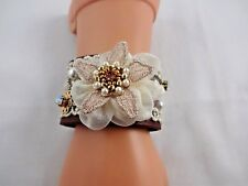 Cuff bracelet brown faux leather lace flower pearls rhinestone 7.5 to 8.5 inch