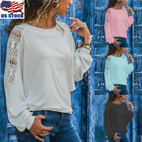 Womens Lace Floral Hollow Tunic Tops Shirt Crew Neck Long Sleeve Blouse T Shirt