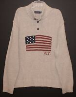 Polo Ralph Lauren Mens Beige USA Flag Cotton Linen Sweater NWT Size 2XL XXL