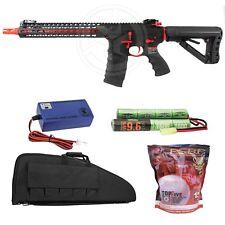 G&G Red CM16 Combat Machine SRXL Electric Rifle Battery Charger BBs Case Bundle