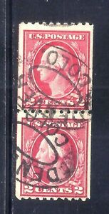 US Stamps - #442 - USED - 2 cent Washington Coil Issue - Pair - CV $130