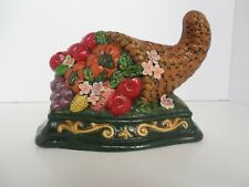 Cornucopia Painted Cast Iron Door Stop Brand New