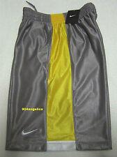 NIKE Men's Gray/Yellow Shiney Basketball/Gym Shorts Small NWT