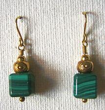 Malachite Earrings for Pierced Ears, Goldtone French Hooks