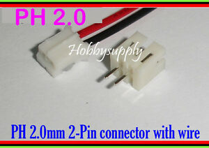 50 x 2-Pin 2.0mm PH JST Male Female Connector Housing wire cable 30cm PCB Header