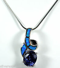 """925 Sterling Silver 18"""" Necklace with 2.5 Cts Tanzanite & Blue Fire Opal Pendant"""