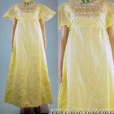 Vintage 60s 70s Yellow taffeta long Gypsy boho hippie hostess dress gown Sz S