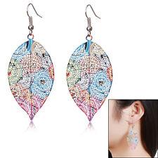 Bohemia Women Vintage Leaf Colorful Dangle Ear Stud Silver Plated Earrings