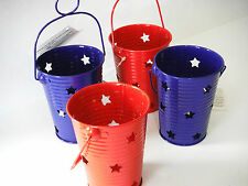 4TH OF JULY PATRIOTIC 4PC CANDLE HOLDER DECORATION.METAL. 4PC SET