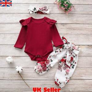 Newborn Baby Girls Romper Bodysuit Floral Pants Headband Clothes Sets Outfits UK