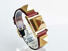 Ladies Hermes Medor Watch White Dial Brown Lizard Band in nice condition 13434