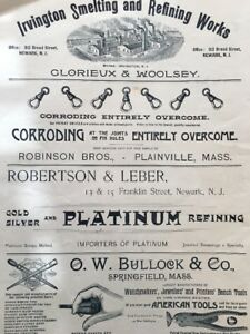 Antique 1891 Victorian Jewelry Trade Advertising Platinum Tools Watchmaker ++