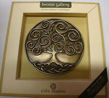 Irlanda Bronce Plateado Placa de pared del árbol de la vida celta Sombras Diseño Celta