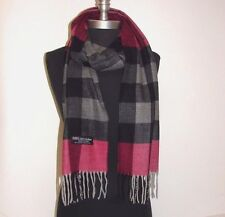 New 100% Cashmere Scarf Pink/black/gray check Plaid Scotland Wool Soft #C3