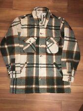 Woolrich Vintage Mackinaw Buffalo Plaid Green Brown White Hunting Jacket Sz LT