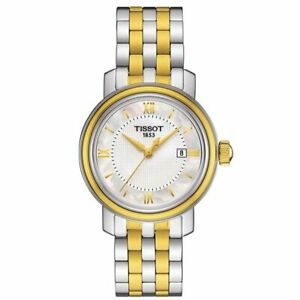 Tissot Swiss Made T-Classic Bridgeport 2 Tone Gold Plated MOP Ladies' Watch