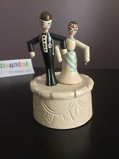 Vintage Wooden Thumb Push Puppet Wedding Cake Topper Couple Bride & Groom