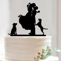 Figurine Futurs Mariés avec Chiens Décoration Gâteau Mariage Acrylique Noir